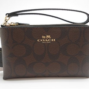 Coach-Signature-Double-Corner-Zip-PVC-Coated-Canvas-Leather-Wristlet-64131-0
