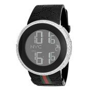 Mens-Diamond-I-Gucci-Digital-Stainless-Steel-Rubber-Band-Swiss-Watch-0-0