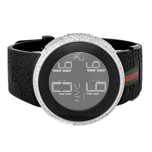 Mens-Diamond-I-Gucci-Digital-Stainless-Steel-Rubber-Band-Swiss-Watch-0