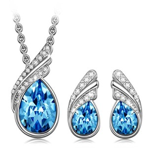 Christmas-Gift-Blue-SWAROVSKI-ELEMENTS-Crystals-Jewelry-Set-White-Gold-Plated-Necklace-Earrings-Sets-0