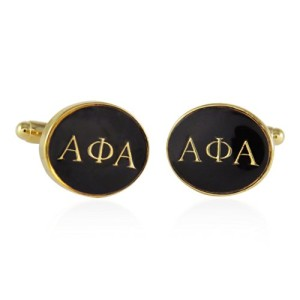 Cuff-Daddy-Alpha-Phi-Alpha-Black-Gold-Tone-Cufflinks-0