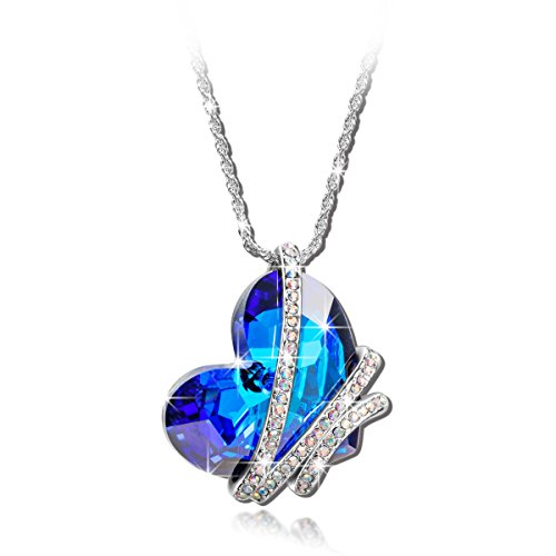 """1eb8f4edc3321 Qianse """"Heart of the Ocean"""" Bowtie Pendant Necklace Made with SWAROVSKI  Crystal"""