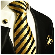 Paul-Malone-Necktie-Pocket-Square-and-Cufflinks-100-Silk-Gold-Black-Stripes-0-0