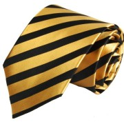 Paul-Malone-Necktie-Pocket-Square-and-Cufflinks-100-Silk-Gold-Black-Stripes-0-1