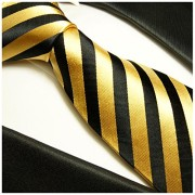 Paul-Malone-Necktie-Pocket-Square-and-Cufflinks-100-Silk-Gold-Black-Stripes-0-2