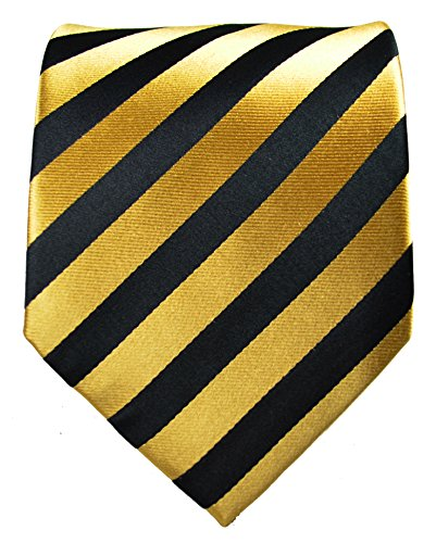 Paul-Malone-Necktie-Pocket-Square-and-Cufflinks-100-Silk-Gold-Black-Stripes-0