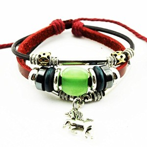 Real-Spark-Red-Leather-Beads-Horse-Pendant-Bracelet-Metal-Tube-Handmade-Wrap-Bracelet-0